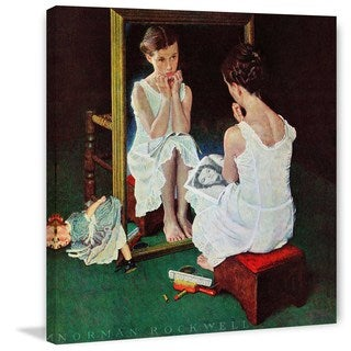 """Marmont Hill - """"Girl at the Mirror"""" by Norman Rockwell Painting Print on Canvas"""