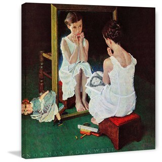 "Marmont Hill - ""Girl at the Mirror"" by Norman Rockwell Painting Print on Canvas - Multi-color (5 options available)"