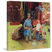 """Marmont Hill - """"Construction Crew"""" by Norman Rockwell Painting Print on Canvas - Multi-color"""