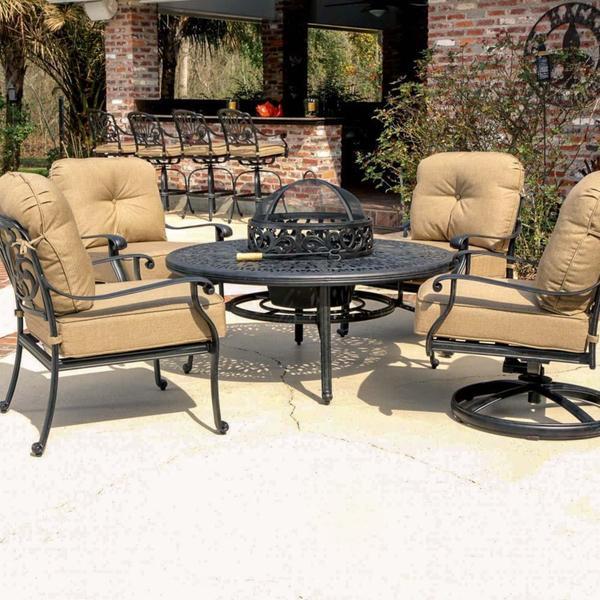 Rosedown 4 person cast aluminum patio deep seating set