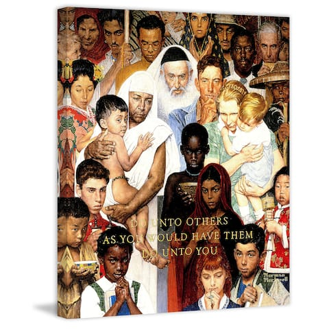 """Marmont Hill - """"Golden Rule"""" by Norman Rockwell Painting Print on Canvas"""