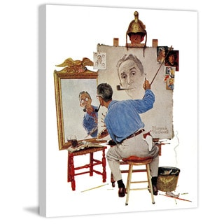 "Marmont Hill - ""Triple Self-Portrait"" by Norman Rockwell Painting Print on Canvas"