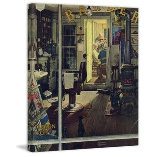"Marmont Hill - ""Shuffleton's Barbershop"" by Norman Rockwell Painting Print on Canvas"