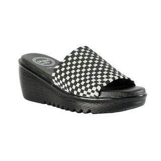 """Heal USA Women's """"Abbey"""" Stretchy Woven Band Wedge Sandals"""