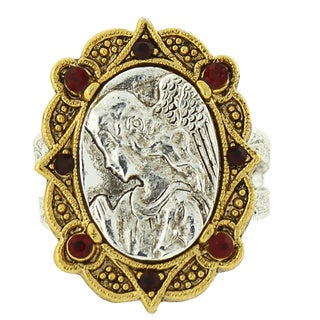 The Vatican Library Collection Silvertone and 14k Gold-dipped Red Crystal Mary Stretch Ring