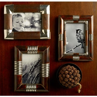 "Metal & Wood 4x6"" Photo Frames (Set of 3)"