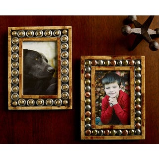 "Horn & Button 4x6"" Photo Frames (Set of 2)"