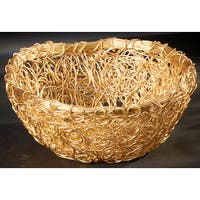 "Gilded 9"" Round Twist Wire Mesh Basket"