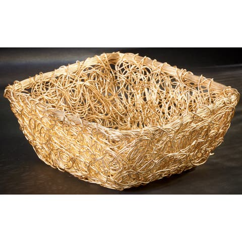 "Gilded 8"" Square Twist Wire Mesh Basket"