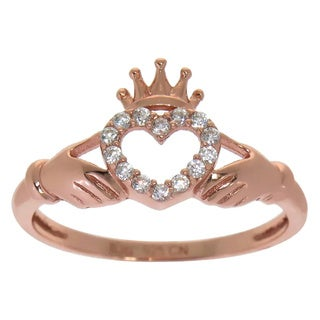Eternally Haute 14k Rose Gold over Sterling Silver Pave Cubic Zirconia Claddagh Loyalty Ring
