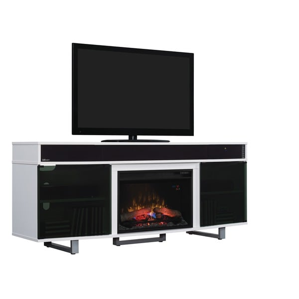 Enterprise Glossy White Finish 26 Inch Classic Flame Electric Indoor Fireplace Media Mantel
