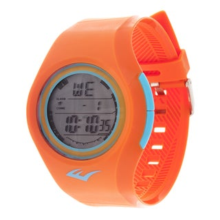 Everlast Retro Kids Digital Round Sport Mens's LED Orange Watch with Rubber Strap