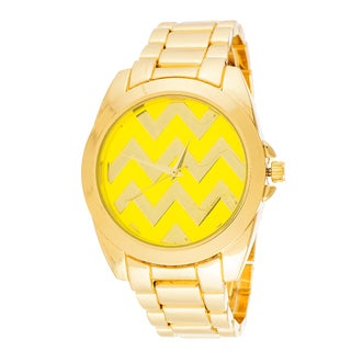 Fortune NYC Boyfriend Gold Case Zigzag Dial / Gold Strap Watch