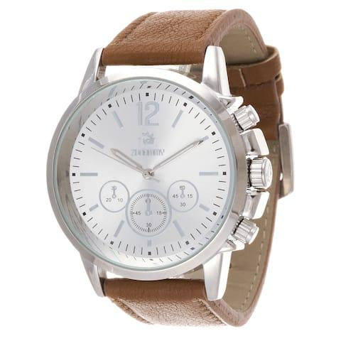 Zunammy Men's Silvertone Case / Light Brown Leather Strap Watch