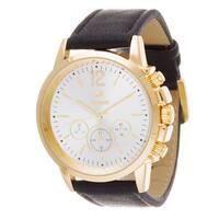 Zunammy Men's Goldtone Case / Black Leather Strap Watch