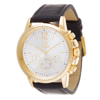 Zunammy Men's Goldtone Case / Black Leather Strap Watch