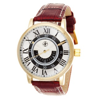 Fortune NYC Men's Gold Case / Red Leather Strap Watch