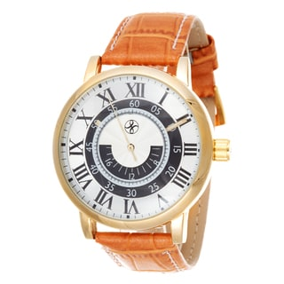 Fortune NYC Men's Gold Case / Light Brown Leather Strap Watch