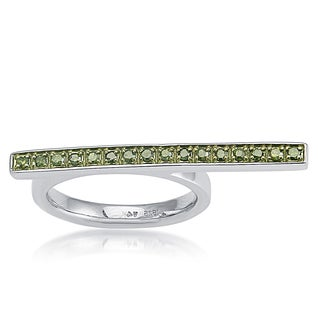 Sterling Silver 1/4ct TDW Green diamond Fancy Band Ring (I2-I3)