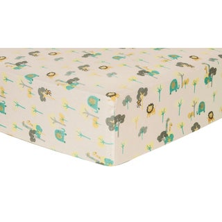 Trend Lab Lullaby Jungle Deluxe Flannel Fitted Crib Sheet
