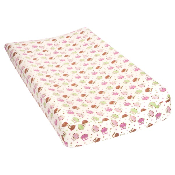 Trend Lab Owls Deluxe Flannel Changing Pad Cover - White