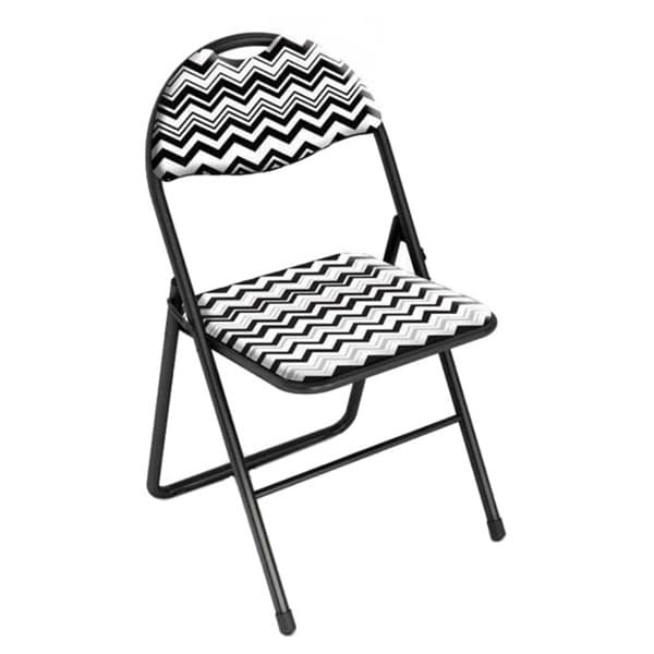 Urb SPACE Classic Cushioned Folding Chair Chevron Black And White (Set Of 2)