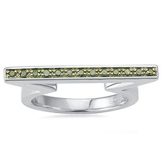 Sterling Silver 1/10ct TDW Green Diamond Flat Top Fancy Band Ring
