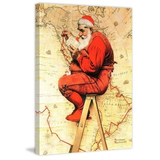 """Marmont Hill - """"Santa at the Map"""" by Norman Rockwell Painting Print on Canvas"""
