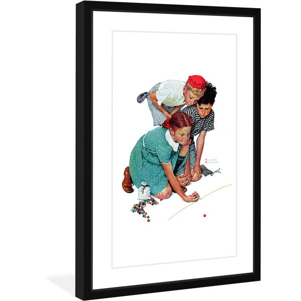 Norman Rockwell 'Marbles Champ' Marmont Hill Framed Art Print - Multi-color
