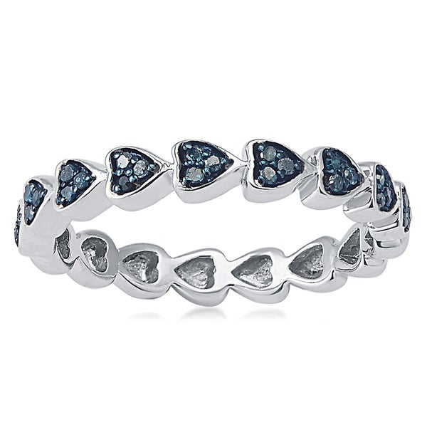 Sterling Silver 1/6ct TDW Blue Diamond Heart Eternity Band Ring - White