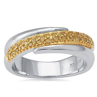 Sterling Silver 1/6ctw TCW Yellow Diamond Bypass Band Ring (I2-I3)