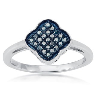 Sterling Silver 0.15ct TDW Clover Shape Blue Diamond Ring