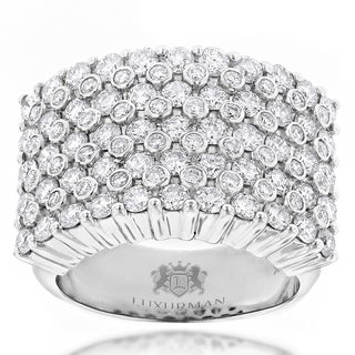 Luxurman 14k Gold Men's 3 1/2ct TDW Diamond Ring (H-I, VS1-VS2)