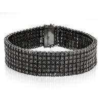 Luxurman Sterling Silver 1 1/3ct TDW Black Diamond 6-row Bracelet