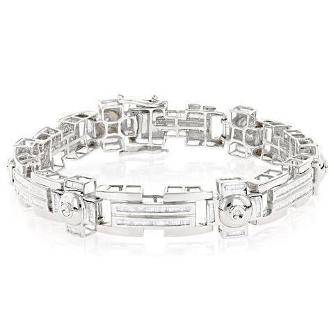 Luxurman 14k Gold Men's 4 1/2ct TDW Diamond Bracelet (H-I, SI1-SI2)