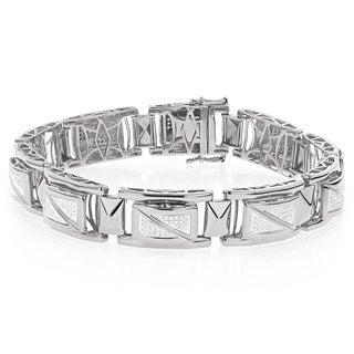 Luxurman White Goldplated Sterling Silver Men's 7/8ct TDW Diamond Bracelet (H-I, I1-I2)