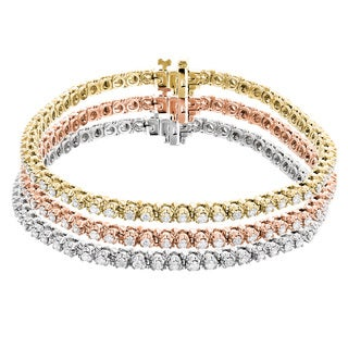 Luxurman 10k Tri-color Gold 4 1/2ct TDW Round Diamond Stackable Tennis Bracelet (H-I, SI1-SI2)