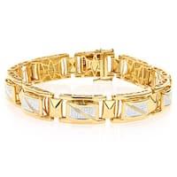 Luxurman Yellow Goldplated Silver Men's 1/2ct TDW Diamond Bracelet