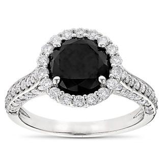 Luxurman 18k Gold 3 2/5ct TDW Black Diamond Halo Engagement Ring (G-H, SI1-SI2)