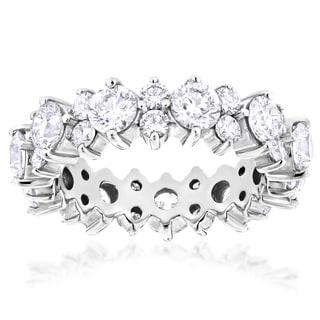 Luxurman 14k Gold 4 2/5ct TDW Round Diamond Eternity Ring