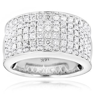 Luxurman 14k Gold Women's 2ct TDW Diamond Wide Wedding Band