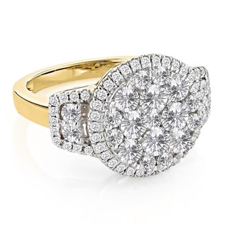 Luxurman 14k Yellow Gold 2ct TDW Round Diamond Engagement Ring (G-H, SI1-SI2)