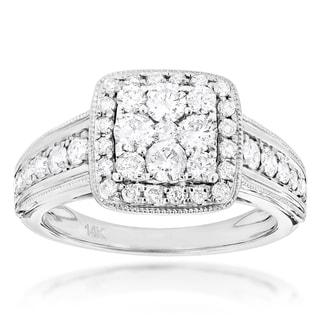 Luxurman 14k White Gold 1 1/3ct TDW Diamond Designer Engagement Ring