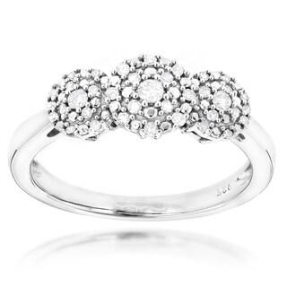 Luxurman Sterling Silver 1/4ct TDW Diamond 3-drop Engagement Ring