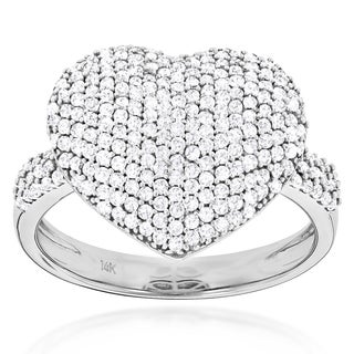 Luxurman 14k Gold 1ct TDW Diamond Pave Heart Ring (G-H, SI1-SI2)
