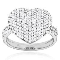 Luxurman 14k Gold 1ct TDW Diamond Pave Heart Ring