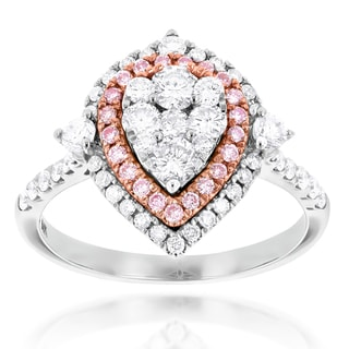 Luxurman 14k White Gold 1 1/3ct TDW White and Pink Diamond Drop Cluster Ring (H-I, VS1-VS2)