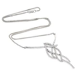 Luxurman 14k White Gold 2ct TDW Round Diamond Necklace