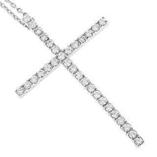 Luxurman 14k White Gold 3/4ct TDW Round Diamond Cross Pendant (G-H, I1-I2)