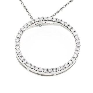 "Luxurman 14k Gold 3/5ct TDW Diamond 'Circle of Love' Pendant - 16""L"